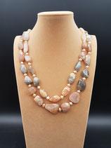Collier long, Sautoir, Pierres naturelles, perle de culture d'eau douce rose