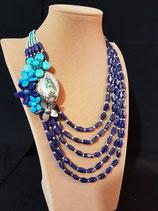 Sautoir pierres naturelles bleues, lapis lazuli, coquillage abalone et fleurs, 5 rangs.