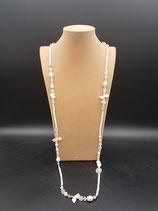 Sautoir, collier long, perle de culture d'eau douce et cristal