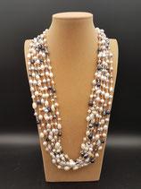 Sautoir, Collier long, Perle de Culture d'eau douce, Baroque, blanche, grise, rose et noire, 7 rangs.