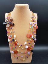 Sautoir, Collier long, en cristal et pierres naturelles, doré, rose, fleur en pétale d'agate.