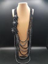 Sautoir extra long, cristal, perle de culture d'eau douce noire