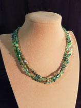 Collier court, collier fin, cristal, perle de verre et agate