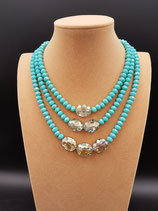 Collier Court, Collier Femme, 3 rangs Cristal turquoise