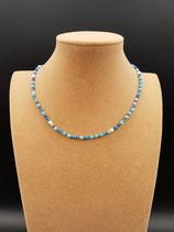 Collier, Collier Court, Collier Fin, Bleu et Perle de Culture d'eau Douce