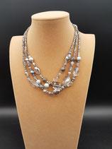 Collier, Collier Court, 3 rangs, cristal, perle de verre et agate, gris