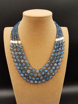 Collier, Collier mi-long, Cristal Bleu, Perle de Culture D'eau Douce.