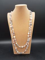 Sautoir, collier long, perle de culture d'eau douce, et cristal, rose, gris.