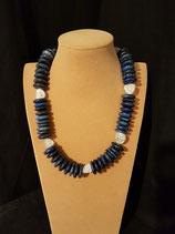 Collier, collier mi-long, Lapis Lazuli et cristal de roche