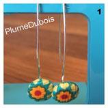 """Boucles d'oreilles """"bouton"""". Création PlumeDubois"""