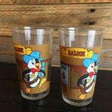 Vintage, lot 2 verres à moutarde, Nestor le pingouin