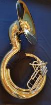 """Sousaphon """"Helios"""" - Messing, lackiert - mit Schulterpolster, Mundstück und Koffer"""