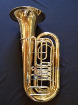 """Tuba """"Schmid"""" - 4-ventilig - komplett aus Goldmessing - mit Zubehör und Koffer"""
