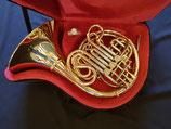 "B/F Doppelhorn - ""Schmid"" - 4 ventilig - komplett aus Goldmessing -  Etui & Mundstück"