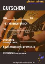 2 Stunden Gutschein Gitarrenunterricht