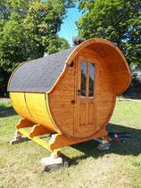 Fasssauna Saunafass Gartensauna 250cm mit Vordach