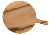 Pizzabrett | Schneidebrett | Durchmesser 30 cm | Eiche | Servierbrett mit Griff | Rund