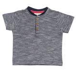 People Wear Organic Kurzarm-Shirt Henley dunkelblau geringelt