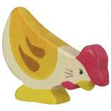 Holztiger Huhn, pickend