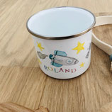 Enamel mug with name rocket Roland