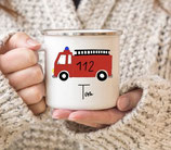 Enamel mug with name fire engine Tom