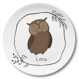 Large plate with name owl with wreath