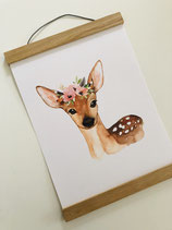 Poster fawn with flowers A4