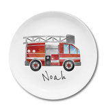 Large plate with name fire engine watercolor