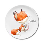 Breakfast plate fox and mouse with name