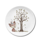 Breakfast plate fox with feather