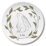 Large plate with name bunny in the forest