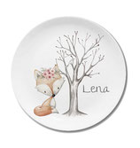 Large plate with name fox girl with flowers