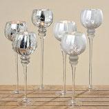 """Windlicht Kelch Crackle """"Monau"""" - 3tlg. Glas silber lackiert glänzend oder matt"""