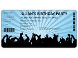 Einladungskarten zum Geburtstag als Eintrittskarte Konzertkarte Ticket  Einladung Art. 040 BLAU