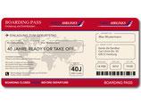 Einladungskarte als Flugticket Boarding Pass Art. 061 ROT