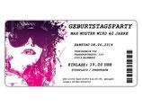 Einladungskarte zum Geburtstag als Eintrittskarte, Ticket, Konzertkarte, Partyticket  Art.046