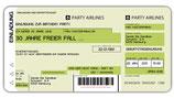 Einladungskarte als Flugticket Boarding Pass Art. 020 GRÜN