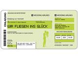Einladungskarte Hochzeit als Flugticket Boarding Pass Art. 055 GRÜN