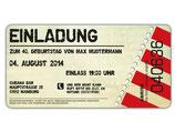 Einladung zum Geburtstag als Eintrittskarte, Ticket Art. 074