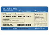 Einladungskarte als Flugticket Boarding Pass Art. 031 BLAU