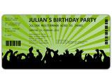 Einladungskarten zum Geburtstag als Eintrittskarte Konzertkarte Ticket  Einladung Art. 042 GRÜN