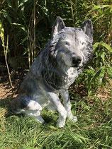 NEW-119 Wolf Figur lebensgroß sitzt
