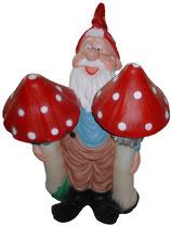 M027 Gartenzwerg Figur mit Pilzen