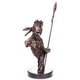 RIYB352 Western Bronzefigur Indianer mit Speer