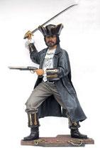 14132 Pirat Figur mit Pistole und Schwert und Schatz lebensgroß