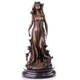 RIYB322 Jugendstil Bronzefigur Frau mit Blumen