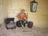 14106 Dekofigur Pirat auf Schatztruhe lebensgroß
