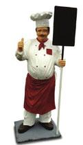 RIA1149 Koch Figur mit Tafel lebensgroß