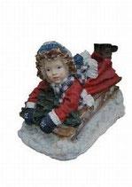 151110 Winterkind Figur Schlitten