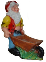 M003 Gartenzwerg Figur mit Schubkarre